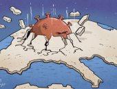 كاريكاتير صحيفة إماراتية.. فيروس كورونا يكشر عن أنيابه للبشر 