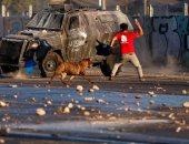 صور.. إصابات واعتقالات فى احتجاجات عنيفة ضد حكومة تشيلى