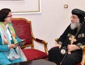 البابا تواضرس يستقبل سفير مصر فى موريشيوس وإثنين من كهنة نيويورك