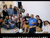 فنانون يحتفلون بـ خالد الصاوى بعد تكريمه فى مهرجان الجونة