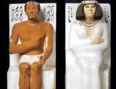 """100 منحوتة عالمية.. """"رع حتب وزوجته نفرت"""" إبداع الحضارة المصرية القديمة"""