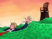 ترامب يغرق وسط أمواج فيروس كورونا في كاريكاتير اماراتى