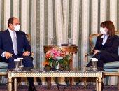 السيسى يبحث مع رئيسة اليونان القضايا الإقليمية ويدعوها لزيارة مصر
