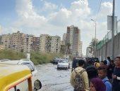 مياه الأمطار تحاصر مدرسة الرأس السوداء الصناعية بالإسكندرية
