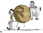 كاريكاتير صحيفة سعودية.. حق المؤلف حائر بين شخصين