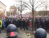 مواجهات بين الشرطة الألمانية ومحتجين على تدابير الإغلاق فى برلين.. فيديو