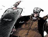 الحوثيون يتخذون المدنيين دروعا لحمايتهم باليمن فى كاريكاتير سعودى