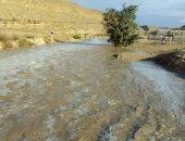 تجمعات مياه الأمطار تسير فى مخر سيول محمية وادى دجلة لنهر النيل.. صور