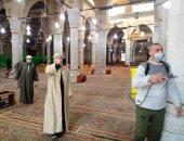 الأوقاف تواصل حملات تعقيم ونظافة المساجد استعدادا لصلاة الجمعة.. صور