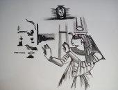 """فنان صغير يغازل الحضارة الفرعونية باسكتشات بالرصاص..""""رسم أبو الهول بعضلات"""""""