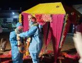 زواج داخل الحجر الصحى لعروسة مصابة بكورونا.. فيديو