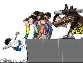 الحوثي يلقى بأطفال اليمن وسط التهلكة فى كاريكاتير صحيفة سعودية