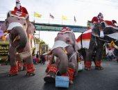خلى بالك من كورونا.. فلافيلو بابا نويل يوزع الكمامات على الطلاب فى تايلاند