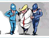 السوشيال ميديا يكبل أيدى دونالد ترامب فى كاريكاتير أردنى