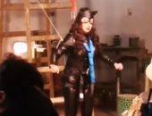 """رانيا يوسف Cat woman فى كواليس """"اللعبة 2"""" بدون دوبلير.. فيديو وصور"""