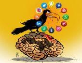 وسائل التواصل الاجتماعى تسيطر على العقل البشرى فى كاريكاتير إماراتى