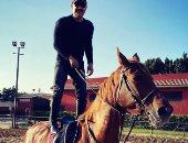 قدرات غير عادية.. أحمد السقا واقفا على ظهر حصانه.. شاهد رد فعل محمد سامى