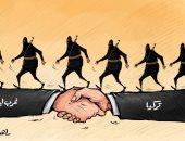 استمرار تركيا فى إرسال ميليشياتها المسلحة للقتال بليبيا فى كاريكاتير إماراتى