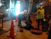 حملة تطهير شبكات الصرف الصحى جنوب الجيزة