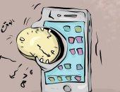 مواقع التواصل الاجتماعي تلتهم الوقت.. كاريكاتير الأنباء الكويتية
