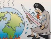 """كاريكاتير عكاظ: إيران تتبع سياسة """" التقسيم الطائفي"""" لإشعال العالم"""