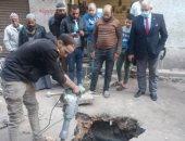 الإنتهاء من أعمال إصلاح هبوط أرضى مفاجئ وسط منطقة سكنية بشارع فرعى فى بلبيس