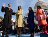 الرئيس الأمريكى الأسبق باراك أوباما يصل مع زوجته لحفل تنصيب بايدن