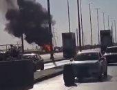 انفجار فى سيارة محملة باسطوانات بوتاجاز بعد انقلابها على طريق الإسماعيلية.. فيديو