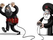 النظام الإيرانى يحرك المليشيات المسلحة عن بُعد فى كاريكاتير سعودى