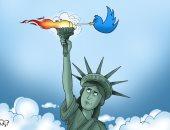 """""""تويتر"""" يحاول إطفاء شعلة الحرية فى كاريكاتير اليوم السابع"""