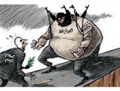 المليشات المسلحة تعارض اتمام عملية السلام بليبيا فى كاريكاتير سعودى