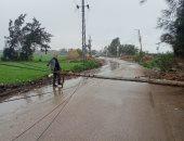 سقوط عامود إنارة فى قرية بالمنصورة بسبب الطقس السيئ