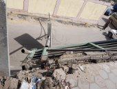 سقوط باكية وعامود إنارة بكوبرى المظلات بسبب سوء الأحوال الجوية