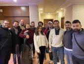 """أنغام فى صورة جديدة من كواليس تصوير """"أنا قدها"""": مع موسيقيى مصر الرائعين"""