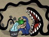الإرهاب ينهش الدول الممولة له بعد نموه فى كاريكاتير إماراتى