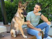 """مينا مسعود يحتفل بيوم الحيوان الأليف بصورة مع كلبه.. ويعلق: """"يستحقون حبنا"""""""