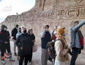 إجراءات احترازية مشددة خلال استقبال الزائرين بمعبد أبو سمبل لمشاهدة تعامد الشمس