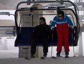 بوتين ورئيس بيلاروسيا يتزلجان ويتنزهان فى جولة بزحافة جليد بسوتشى.. فيديو