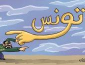 تونس ترفض تواجد الغنوشى وحزبه الإخوانى على أرضها فى كاريكاتير اماراتى
