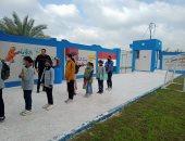 طلاب مدرسة الستين بالبحيرة يلتزمون بالاجراءات الاحترازية فى الامتحانات.. صور