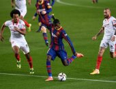 """برشلونة ضد إشبيلية.. البارسا يحسم الشوط الأول بهدف ديمبيلي """"فيديو"""""""