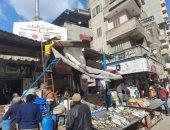 حملة مكبرة لرفع الإشغالات والمخابز المخالفة بسوق السمك فى دمياط
