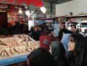 """الحنشان أشهرها.. شاهد الأسماك والبحريات """"صاحية"""" بسوق بورسعيد.. صور"""