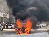 حريق سيارة أمام مجلس مدينة الخانكة بالقليوبية والحماية المدنية تتمكن من إخماده