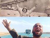 صاحب صورة النصر أثناء تعويم السفينة الجانحة بقناة السويس: كنت بقول الله أكبر (فيديو)