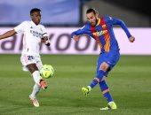"""الريال ضد برشلونة .. مينجويزا يقلص الفارق للبارسا بالهدف الأول """"فيديو"""""""