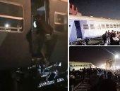 """تفاصيل حادث خروج قطار عن القضبان بالشرقية.. """"الصحة"""": إصابة 15 راكبًا ولا وفيات.. وخروج 12 مصابًا والإبقاء على 3 آخرين تحت الملاحظة.. والسكة الحديد ترفع آثار الحادث وتشكل لجنة تحقيق وتتحفظ على السائق.. صور"""