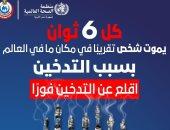 الصحة: كل 6 ثوان يموت شخص فى مكان ما بالعالم بسبب التدخين