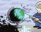 تطهير الأرض من الإرهابيين والمتطرفين فى كاريكاتير إماراتى