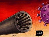 قنبلة فيروس كورونا المدمرة تسقط على أرض الهند فى كاريكاتير إماراتى